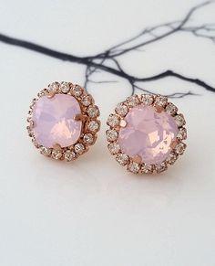 Pink opal earrings,Rose gold earrings,Bridal earrings,Bridesmaids gift,Opal earrings,Blush earrings,Bridal jewelry,Rose water opal,Swarovski