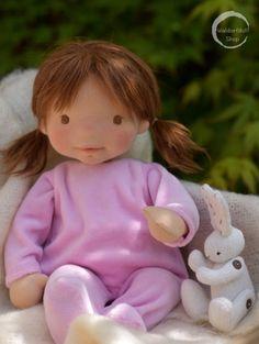 "https://flic.kr/p/281yXNv | Natural Fibre Art Doll, BNaby Doll 13.5"" Catie | Catie is a natural fibre baby art doll created by Waldorfdollshop. She is 13.5"" tall, her hair is crocheted using lovely fine alpaca fibres."