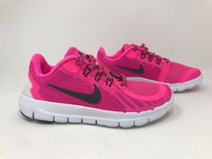 c954641d6 Youth Girls Nike Free 5 Pink Black White SZ 1 725115-600 B11 (eBay Link)