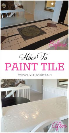 to paint tile countertops! This is SO great for outdated kitchens and bathrooms. So glad I found this!How to paint tile countertops! This is SO great for outdated kitchens and bathrooms. So glad I found this! Tile Counters, Kitchen Countertops, Painting Tile Countertops, Paint Tiles, Kitchen Backsplash, Tile Painting, Dark Counters, Painting Tips, Cocina Diy