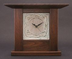 Walnut clock with ceramic face by Cindy Searles