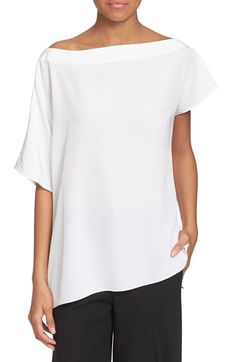 Tibi Asymmetrical Split Shoulder Silk Top