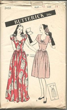 fe52fcaec295 1940s Evening Dance Dinner Day Dress Sweetheart Neckline Dirndl Skirt  Sleeve Variations Butterick 3453 B 32 Women s Vintage Sewing Patterns