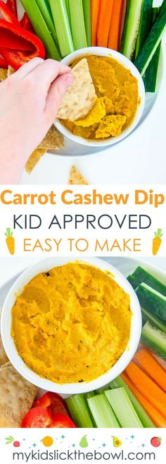 Roasted Carrot Cashew Dip, Healthy, Easy perfect for kids and fussy eaters. Similar to hummus but with no chickpeas.