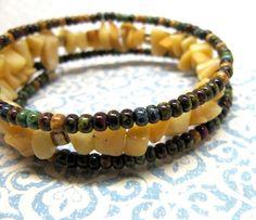 Yellow Memory Wire Bracelet Yellow Agate Beaded Bracelet by ebbead