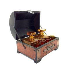 Vintage Treasure Chest Barware Set with 2 by PrimaTreasures