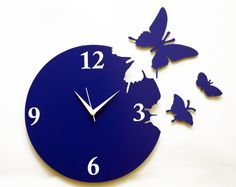 Decoration Unique And Craetive Panache Blue Butterfly Wall Clock Silver Hands White Numerals Alumunium Material Home Decor Ideas 33 Unique And Creative Wall Clock