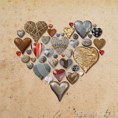 Metal Heart Shaped Things Arranged In Circle Stock Photo - Image: 45415193