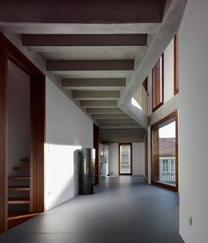 Interior shot of a symmetrical house in Spain featuring a folded facade.