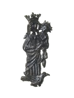 Pilgrim badge of the Virgin Mary from an unknown shrine. This badge depicts the Virgin wearing a crown and holding the infant Christ on her left and a sceptre over her right shoulder. Mary is standing on the back of a dove. The Virgin was thought of as the Queen of Heaven and a universal protector. Production Date: Late Medieval; 15th century