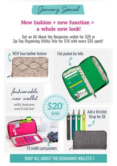 January Special get the All About the Benjamin's wallet for $20 when you spend $35!! www.mythirtyone.com/anetrae