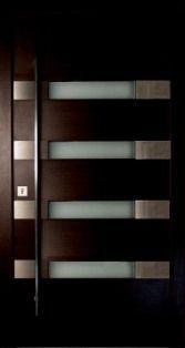 M028-2 puerta de entrada de madera con ventanitas y acero