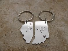 Long Distance Relationship SHIPS FAST State KeyChains USA State Long Distance Love keychain going away gift friend family boyfriend