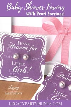 Heaven Sent Purple Baby Shower Favors With White Pearl Earrings, Birthday Party Baby Shower Centerpieces, Bridal Shower Favors, Baby Shower Decorations, Baby Shower Invitations, Baby Shower Purple, Purple Baby, Unique Baby Shower, Baby Shower Games, Baby Shower Parties