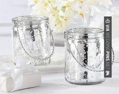 """So awesome - Everyone will be talking about the glowing, ultra-cool mercury-glass table decor, as it sets the mood and mesmerizes your guests with playful light and shadows.  """"Silverlight"""" Mercury Glass Tealight Holder Sale Price: $3.15 (15% off) Favor Couture The Aspen Shops   CHECK OUT MORE GREAT REHEARSAL DINNER PICS AND IDEAS AT WEDDINGPINS.NET   #weddings #wedding #rehearsal #rehearsaldinner #bachelorparty #events #forweddings"""