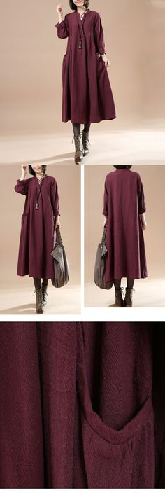 BUYKUD-Autumn Large Size Women's Casual Long Sleeve Cotton Linen Dress