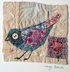 Unframed appliqued bird with embroidery on to door MandyPattullo