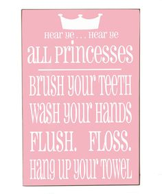 Loving this Pink Princess Bathroom Wall Art on #zulily! #zulilyfinds