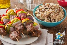 Dijon Wine Steak Kebabs with Mushroom Wild Rice | 2 Guiding Stars