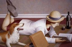 Woman Reading by Fabio Hurtado ( b.1960)