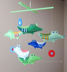 "Baby Mobile - Nursery Mobile - Green Crocodiles Crib Mobile - ""Six Green Plaid alligators"" Mobile  (Custom Color Available)"