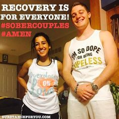 """Both of my great friends Nikki @nikkitaylorw (IG) and Jack @jack_pradel (IG) are doing mission work right now but always have time to send me a selfie with their tees on because recovery is for everyone not just those in it! It's great to have their support and those smile say it all! CLEAN AND SERENE BABY!! Great job my friends <3   For either of these tanks click the link in our bio to redirect to our site now! SubstanceForYou.com Remember to use code """"NEEDIT"""" for 40% off this weekend…"""