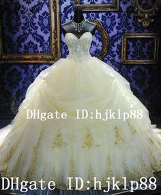 Wholesale 2014 New Arrival Luxury Royal Puffy White Sweetheart Lace-up Cathedral Train Lace Bridal Wedding Dresses Crystal and Embroidery Ball Gown, Free shipping, $136.38/Piece   DHgate Mobile