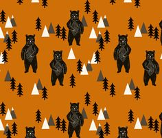 Forest Bear - Camping Collection by Andrea Lauren fabric by andrea_lauren on Spoonflower - custom fabric