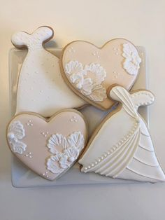 Bridal Cookies Wedding Dress Cookie Heart Cookie Wedding Cookies