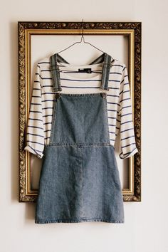 black and white striped shirt, jean skirt overalls