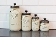 Set of 4 mason jar canisters etsy kitchen decor mason jars, Mason Jar Gifts, Mason Jar Diy, Canister Sets, Canisters, Decoracion Low Cost, Mason Jar Projects, Christmas Mason Jars, Kitchen On A Budget, Candy Jars