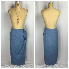 Vintage Gap Denim Wrap Sarong Maxi Skirt Medium | eBay