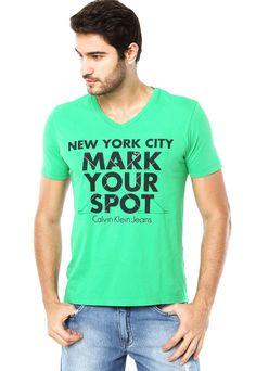 79c3a4ee5356e Camisa Calvin Klein Jeans New York Verde