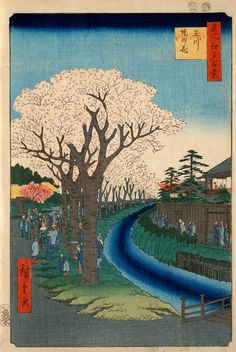 """Blossoms on the Tama River Embankment,"" by Utagawa Ando Hiroshige (1856)"