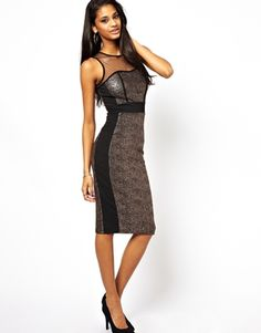 New Look Metallic Midi Dress With Mesh Inserts..the look for less!! Even cheaper on newlook.com's website!