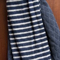 $125.The Hill-Side - Diamond-Quilted Double-Faced Scarf - Gauze Stripe Navy & White - Indigo & Cotton