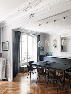 Renovation / decoration project - open space dining room - Haussmannian apartment - modern - carried out by the CAROLINE ANDRÉONI Agency Open Dining Room, Dining, Home Remodeling, Home Decor, House Interior, Appartment Decor, Interior Design, House And Home Magazine, Modern Apartment