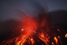 Volcano with lightning.