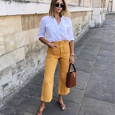 Wish I hadn't worn jeans today tbh, but I wanted to feel like a sunflower, soooo yeh 💦🌻🔥 Shop the outfit via the link in my bio… Office Outfits, Stylish Outfits, Fashion Outfits, Women's Fashion, Spring Summer Fashion, Spring Outfits, Mustard Pants, Yellow Pants, Weekend Style