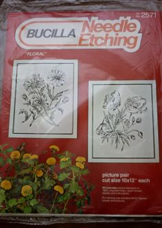 Needle Etching 2571 - Floral Pair- Bucilla Kit - NIP 10 x 12 Frame Size by BluetreeSewingStudio on Etsy