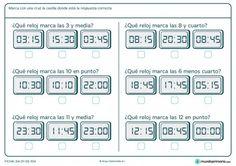 Ficha de marcar el reloj correcto para primaria