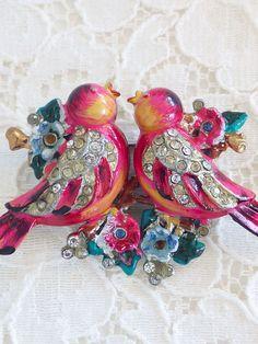 お花畑の小鳥のデュエットブローチ CORO(コロ)
