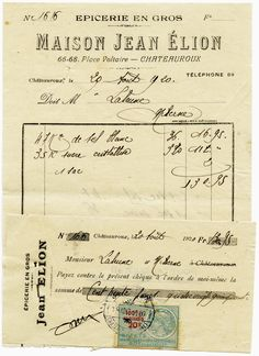 Old Design Shop ~ free digital image: vintage French invoice and cheque