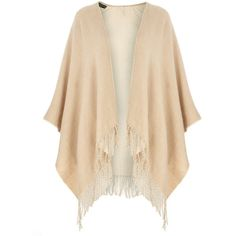 Dorothy Perkins Oat Double Sided Cape ($29) ❤ liked on Polyvore featuring outerwear, beige, cape coat and dorothy perkins
