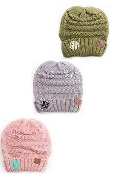 LOVE! LOVE! LOVE! These monogrammed beanies will be your favorite fall accessory! Available in your choice of grey, cream, beige, light pink, light blue, black, olive, red and khaki. Price includes yo