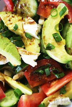 Avocado, Tomato, Cucumber and Mozzarella Salad; Balsamic Vinegar & Whole-Seed Mustard Dressing