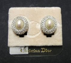 Christian Dior Pearl Crystal Clip On by RockArtemisVintage on Etsy