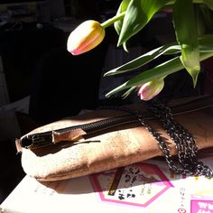 Natural raw cork clutch by OAK BAGS