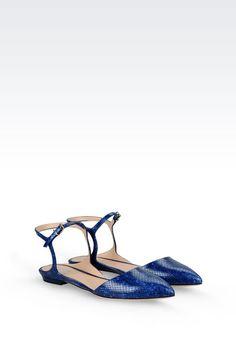 Sandali Flat Donna Emporio Armani - BALLERINA IN PELLE STAMPA SNAKE Emporio Armani Official Online Store