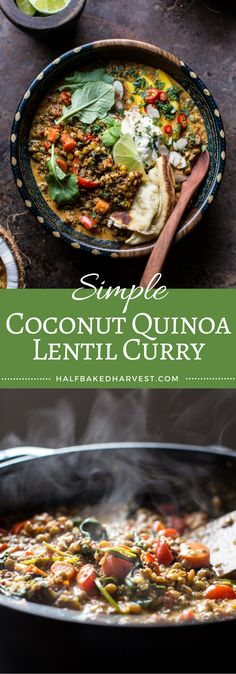 Coconut Quinoa Lentil Curry with Lime Mango | halfbakedharvest.com @hbharvest